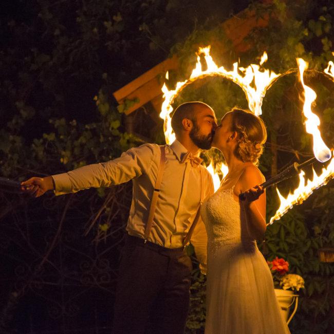 Hochzeit, feuer, fakeln, feuerherz, kuss, wedding, fire, nacht
