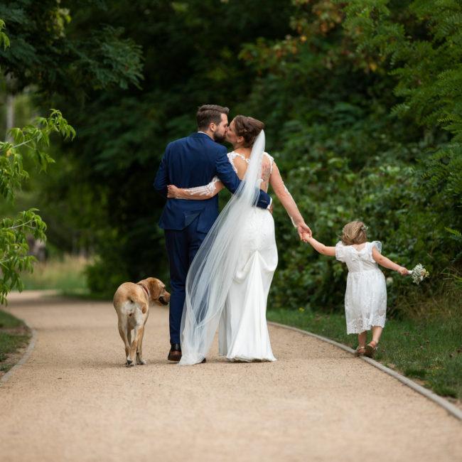 familie, hochzeit, kind, hund